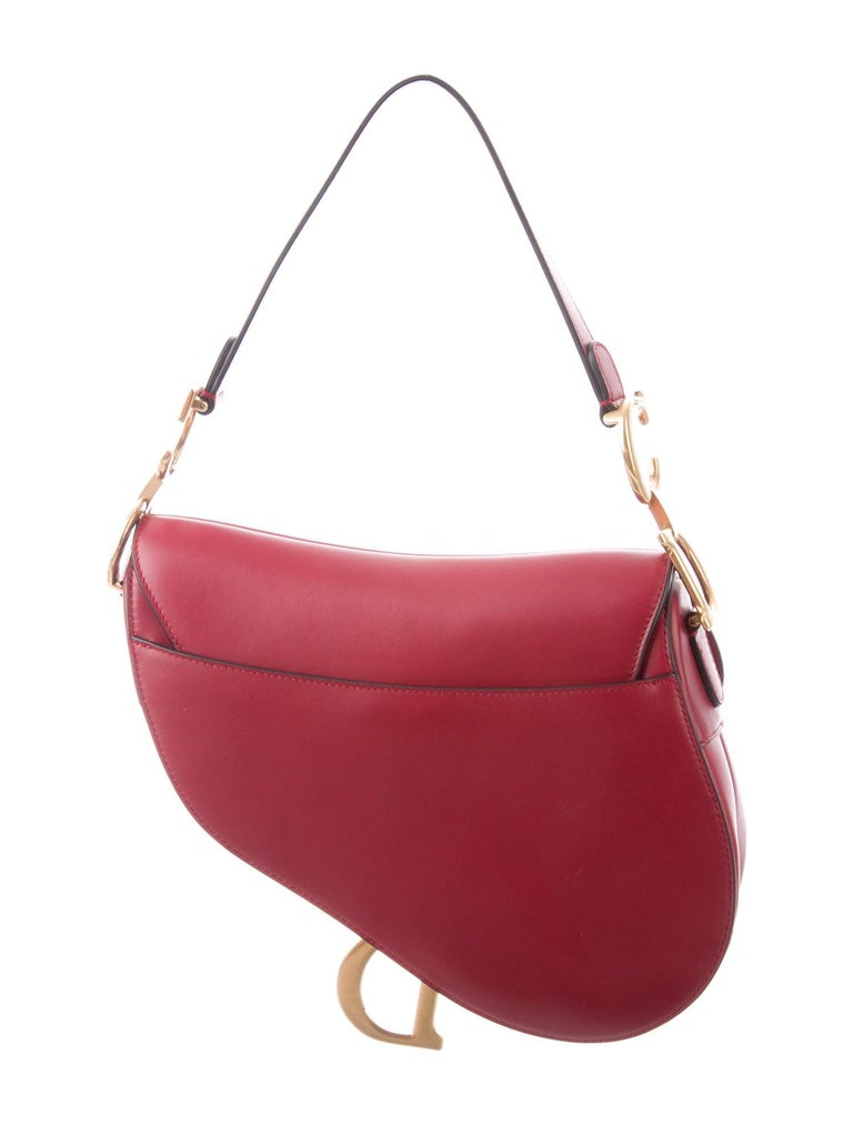 Christian Dior NEW Red Leather Gold 'CD' Charm Saddle Shoulder Flap Bag in Box  Leather Gold tone hardware Suede lining Magnetic snap closure Shoulder strap drop 7