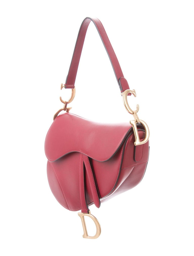 Christian Dior NEW Red Leather Gold 'CD' Charm Saddle Shoulder Flap Bag in Box In New Condition In Chicago, IL