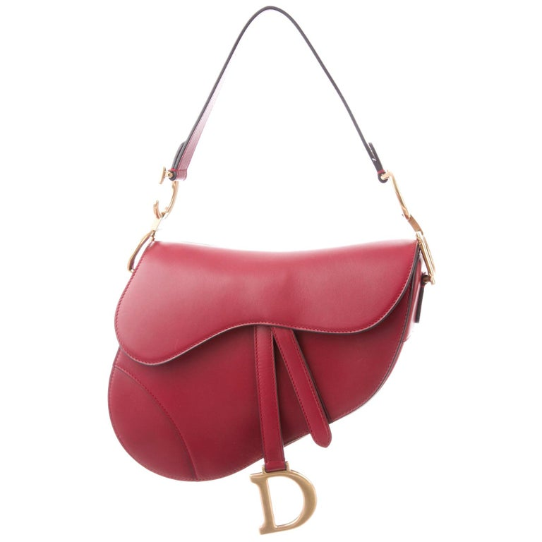 Christian Dior NEW Red Leather Gold 'CD' Charm Saddle Shoulder Flap Bag in Box