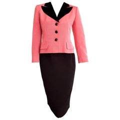 "Christian DIOR ""New"" Silk Pink Jacket Black Skirt Black Velvet Collar - Unworn"