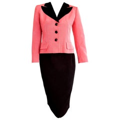 "Christian DIOR ""New"" Silk Pink Jacket Black Skirt Black Velvet Collar - Unworn"