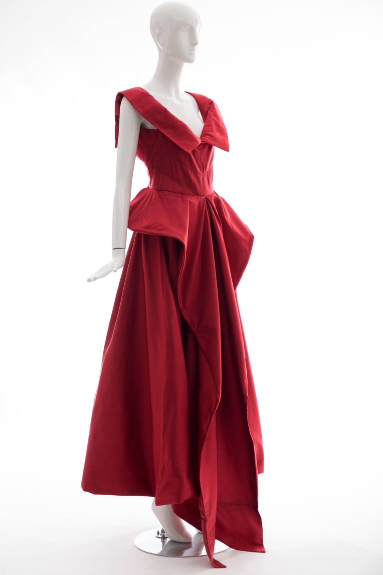 Red Christian Dior New York Demi Couture Silk Scarlet Evening Dress, Circa 1950s For Sale