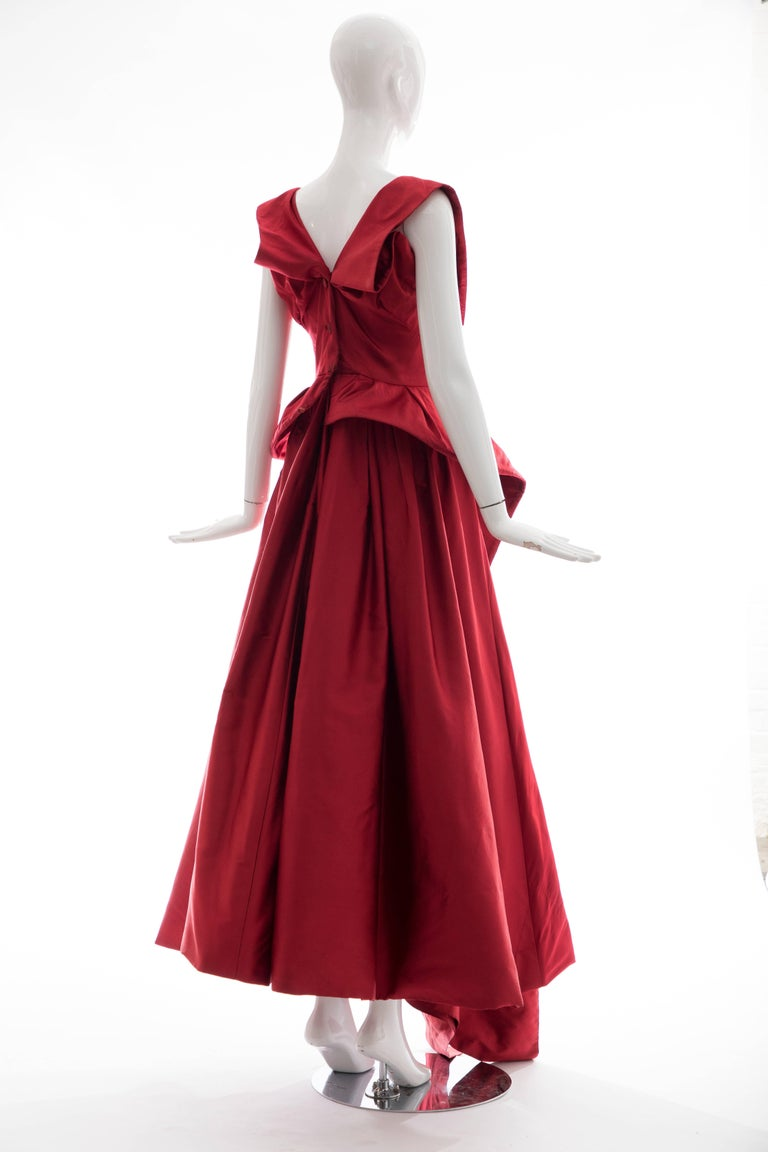 Women's Christian Dior New York Demi Couture Silk Scarlet Evening Dress, Circa 1950s For Sale