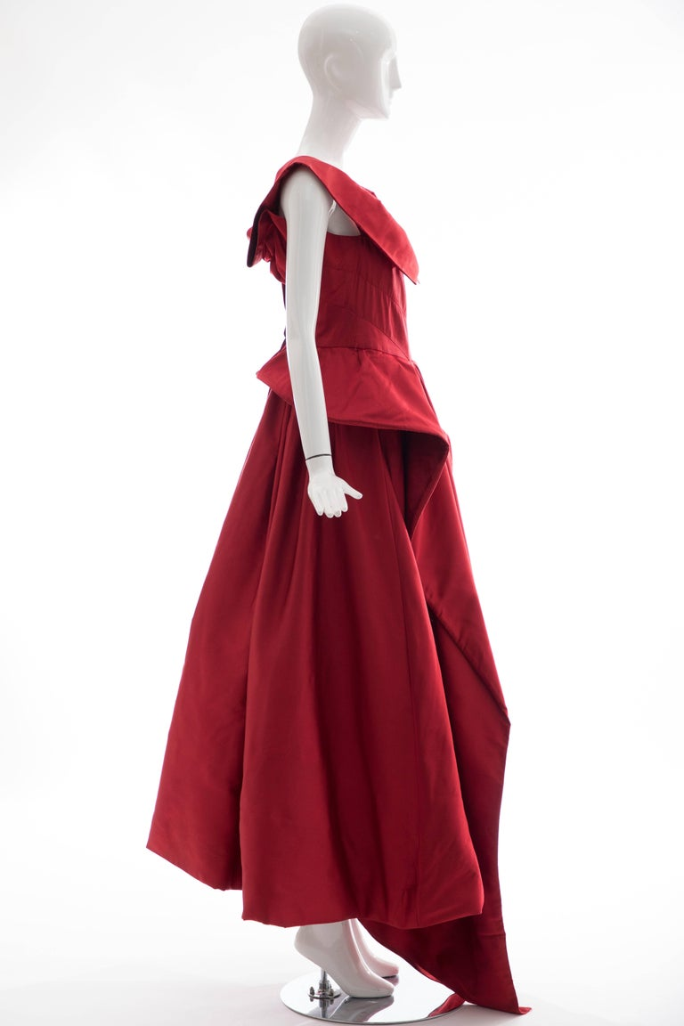 Christian Dior New York Demi Couture Silk Scarlet Evening Dress, Circa 1950s For Sale 1