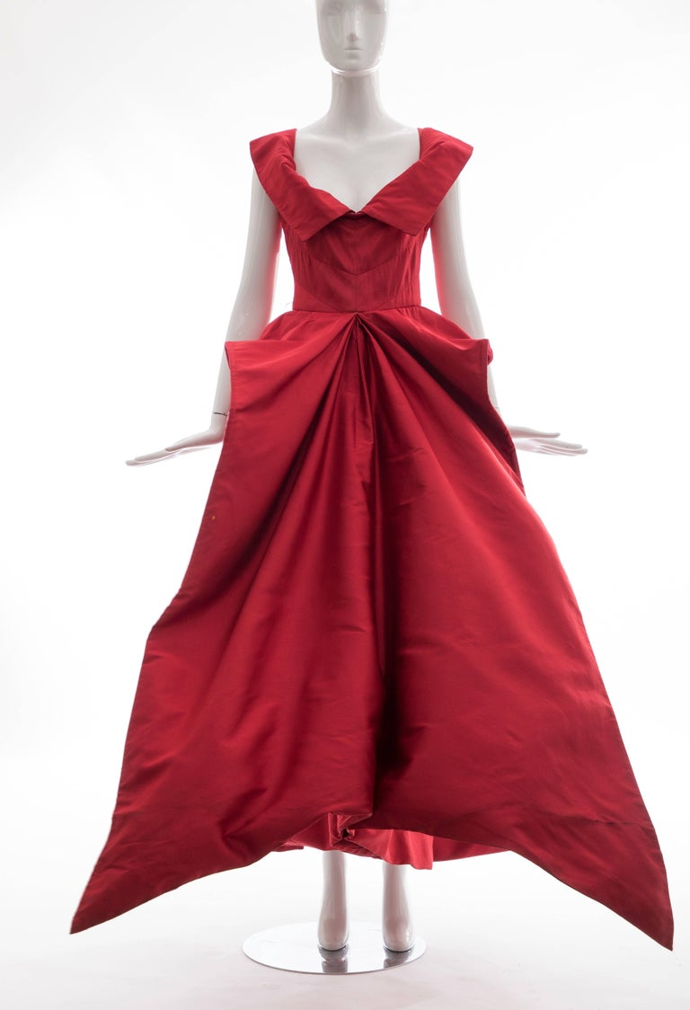 Christian Dior New York Demi Couture Silk Scarlet Evening Dress, Circa 1950s For Sale 2