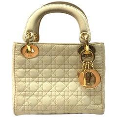 CHRISTIAN DIOR  Nude Fabric Small Lady Dior Handbag