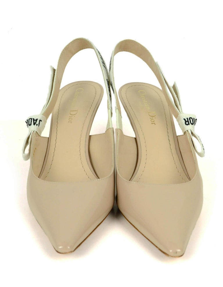 Beige Christian Dior Nude Patent Leather J'ADIOR Slingback Pumps sz 39.5 rt. $890 For Sale