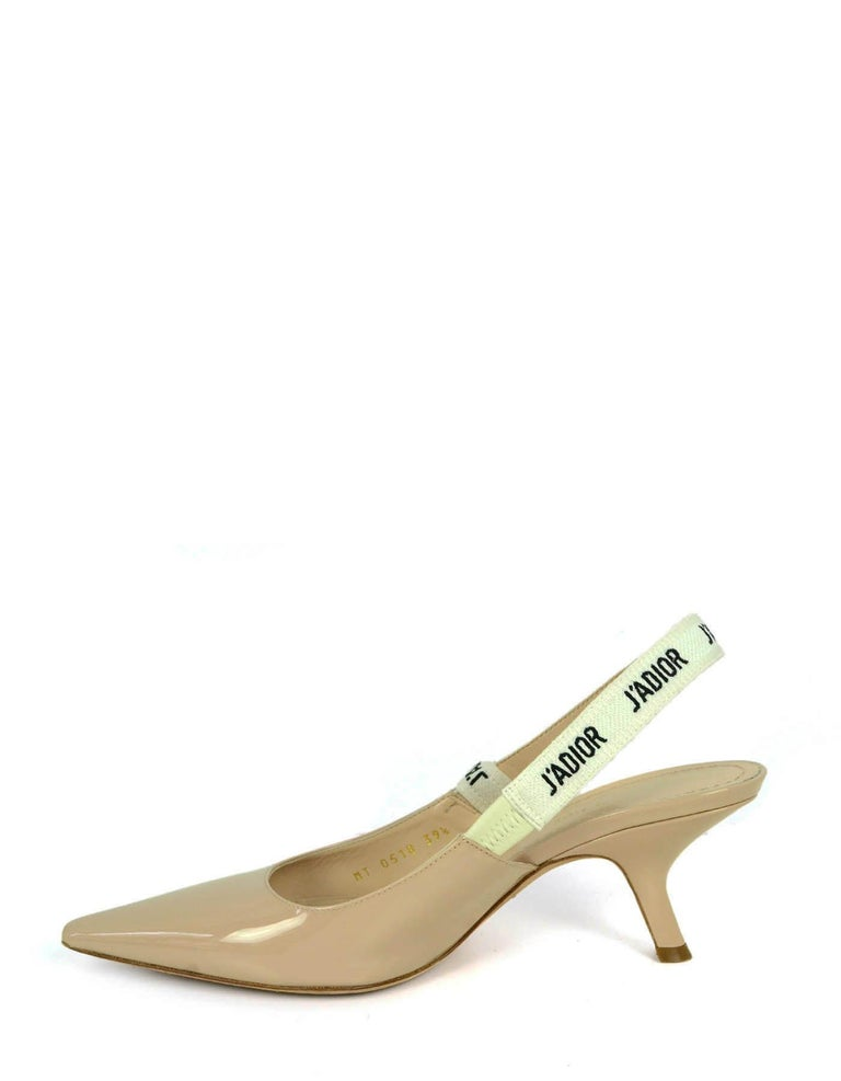 Christian Dior Nude Patent Leather J'ADIOR Slingback Pumps sz 39.5 rt. $890 In Excellent Condition For Sale In New York, NY