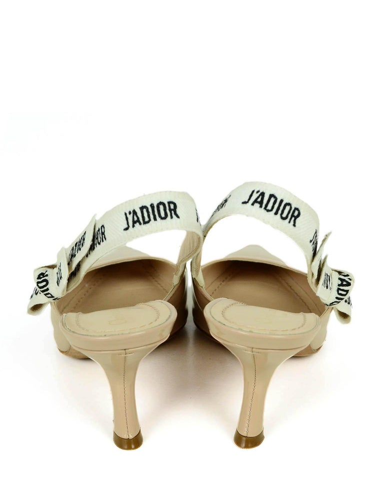 Women's Christian Dior Nude Patent Leather J'ADIOR Slingback Pumps sz 39.5 rt. $890 For Sale