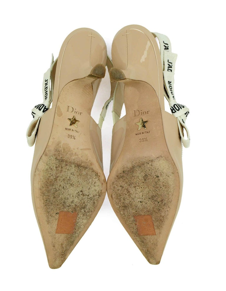 Christian Dior Nude Patent Leather J'ADIOR Slingback Pumps sz 39.5 rt. $890 For Sale 1