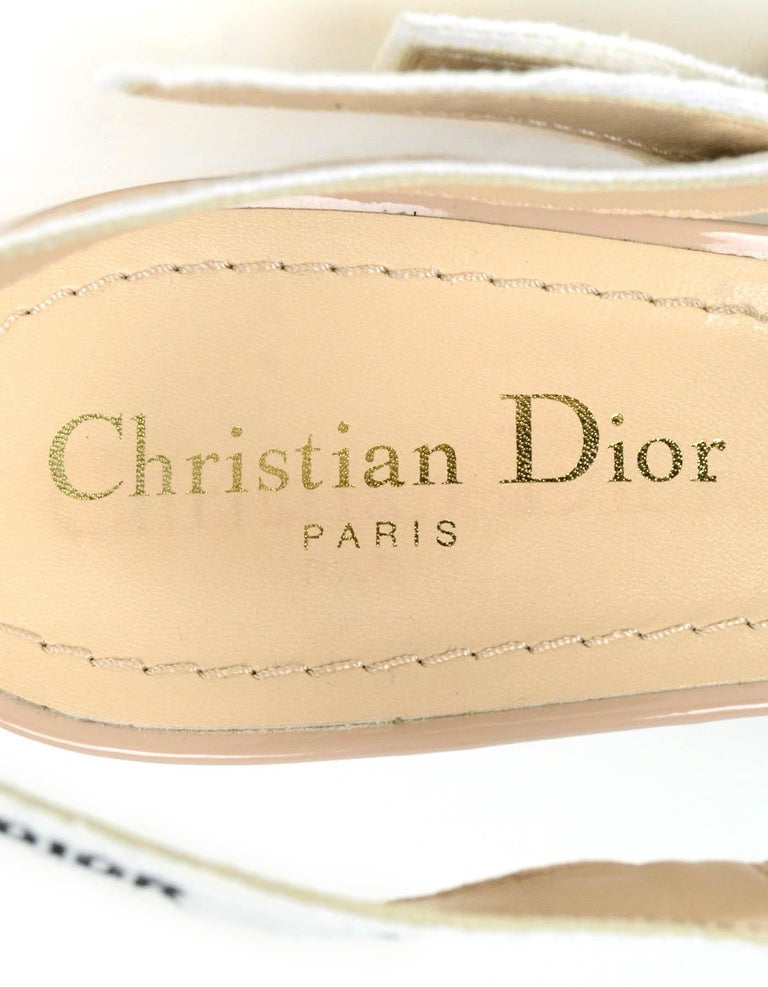 Christian Dior Nude Patent Leather J'ADIOR Slingback Pumps sz 39.5 rt. $890 For Sale 2