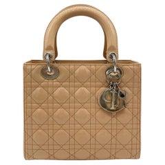 Christian Dior Nude Patent Leather Medium Lady Dior Bag
