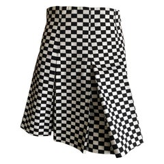 Christian Dior Op Art Black and White Cotton Denim Pleated Skirt