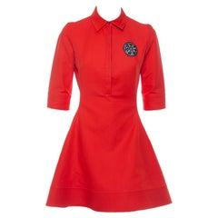 Christian Dior Orange Cotton Embellished Detail Collared Mini Dress M