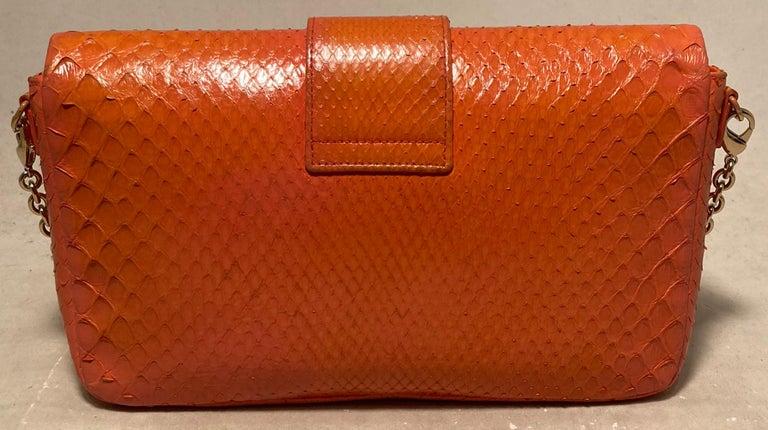Women's Christian Dior Orange Python Miss Dior Small Flap Bag For Sale