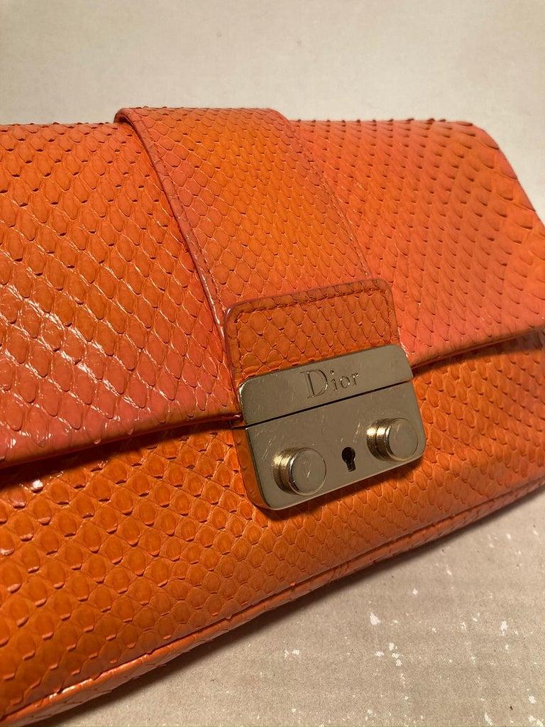 Christian Dior Orange Python Miss Dior Small Flap Bag For Sale 2