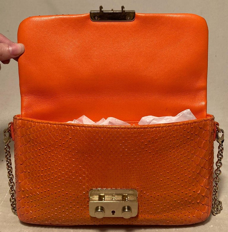 Christian Dior Orange Python Miss Dior Small Flap Bag For Sale 3