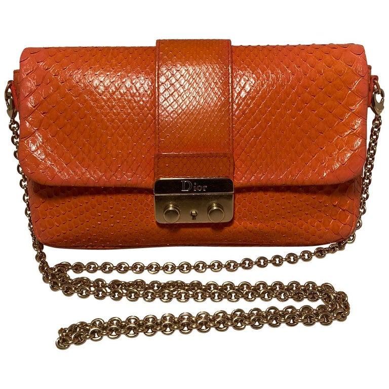 Christian Dior Orange Python Miss Dior Small Flap Bag For Sale