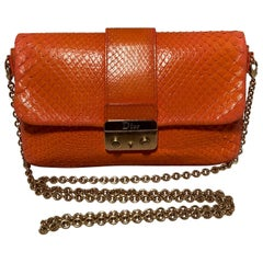 Christian Dior Orange Python Miss Dior Small Flap Bag