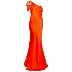 CHRISTIAN DIOR orange silk SATIN EMBELLISHED ONE SHOULDER GOWN Dress 42