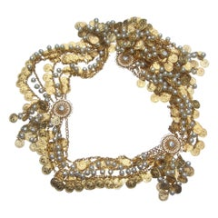 Christian Dior Ornate Dangling Coin & Pearl Belt - Necklace in Dior Box c 1970s