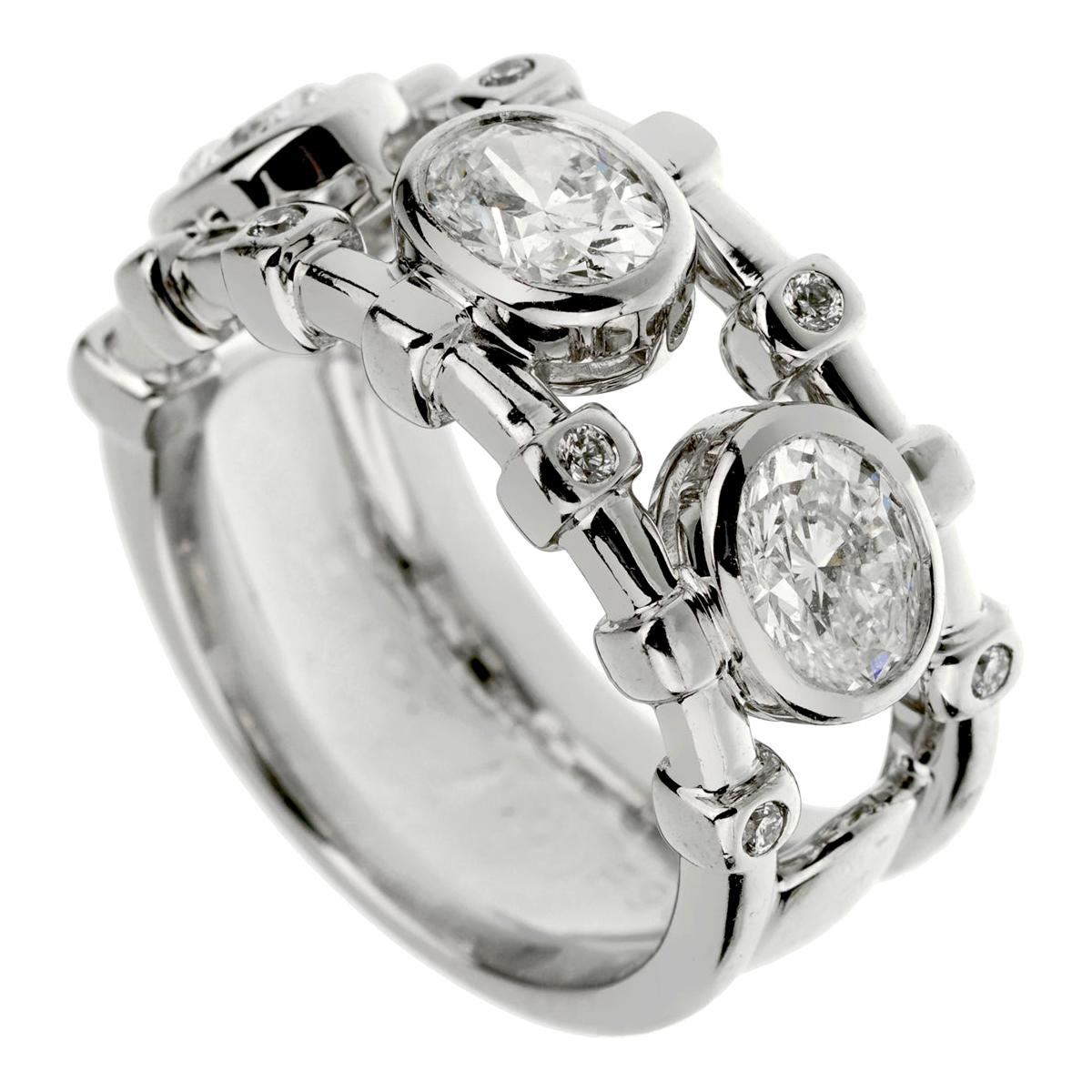 Christian Dior Oval Diamond Cocktail White Gold Ring