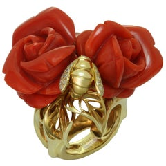 Christian Dior Oxblood Coral Diamond Yellow Rose Bee Gold Ring