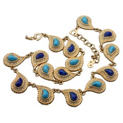 CHRISTIAN DIOR Paisley Turquoise Lapis Lazuli Cabochon Rhinestone Necklace