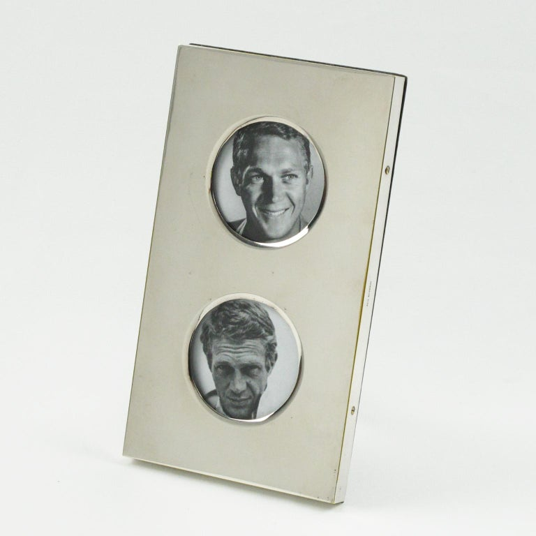 Varnished Christian Dior Paris 1970s Double View Silver Plate Picture Photo Frame For Sale