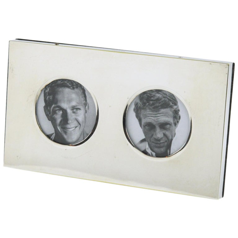 Christian Dior Paris 1970s Double View Silver Plate Picture Photo Frame For Sale