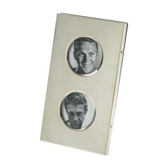 Christian Dior Paris 1970s Double View Silver Plate Picture Photo Frame