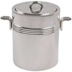 Christian Dior Paris 1970s Modernist Silver Plate Ice Bucket Cooler