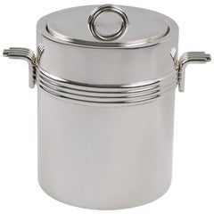 Christian Dior Paris 1970s Modernist Silver Plate Ice Bucket Cooler