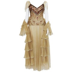 Christian Dior Paris Automne-Hiver 1980  Numbered Lace Gown with Stole