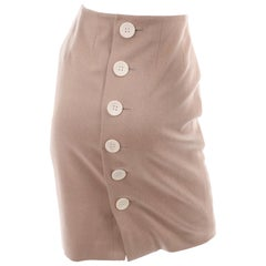 Christian Dior Paris Camel Pencil Skirt With Back Buttons & SIlk Lining Size 8