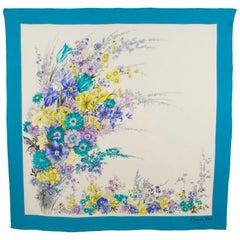 Christian Dior Paris Silk Scarf Floral Print in Blue and Lavender