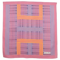 Christian Dior Paris Silk Scarf Geometric Print in Pink and Orange