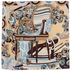 Christian Dior Paris Silk Scarf Iconic Chair in Blue and Beige
