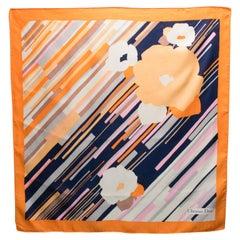 Christian Dior Paris Silk Scarf Navy Blue and Orange Floral Print