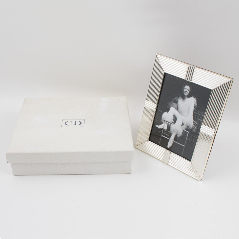 Modern Christian Dior Paris Silver Plate Picture Frame For Sale
