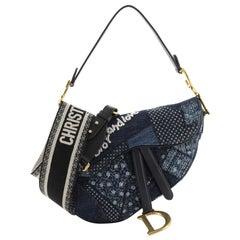 Christian Dior Peace and Love Saddle Bag Patchwork Denim Medium
