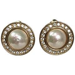 Christian Dior Pearl and Rhinestone Circle Earrings