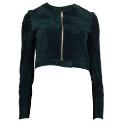 CHRISTIAN DIOR petrol green suede CROPPED BAND COLLAR Jacket 36 XS