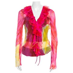 Christian Dior Pink and Yellow Printed Sheer Silk Wrap Top M