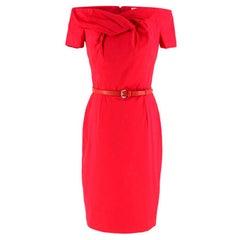Christian Dior Pink Belted Off-Shoulder Dress M