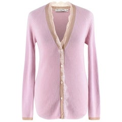 Christian Dior Pink Cashmere & Silk Knit Lace Detail Cardigan - Size US 4