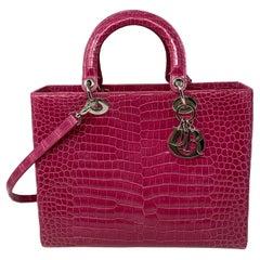 Christian Dior Pink Crocodile Lady Bag
