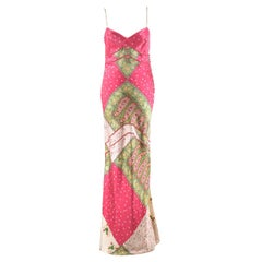 Christian Dior Pink & Green Paisley Silk Gown UK 12