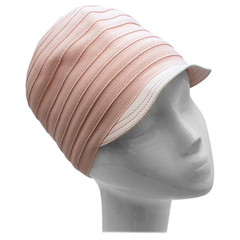Christian Dior Pink Knit & Lambskin Hat - Size 57 For Sale