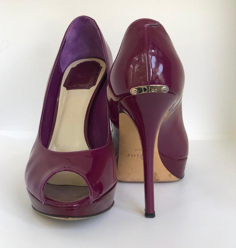 Christian Dior Pink/ Purple Berry Patent Leather Platform & Peep Toe Pumps For Sale 5